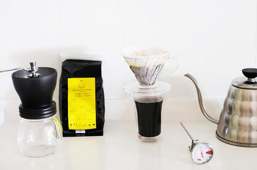 Ethiopia Harrar from Oriole Coffee Roasters + Hario Skerton grinder + Hario V60 drip + Hario Buono drip kettle