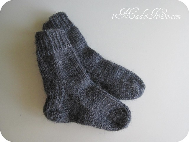 grey wool socks knit 2-at-a-time