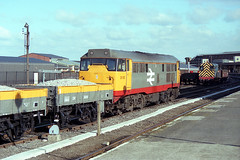 Bescot's 31135 stops at York with a rake of freshly painted Grampus ballast wagons. (jezdgould) Tags: york brush britishrail departmental grampus englishelectric class31 31135 railfreight bescot