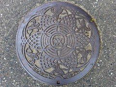 Nishiaizu Fukushima, manhole cover (福島県西会津町のマンホール) (MRSY) Tags: nishiaizu fukushima japan manhole flower 町章 マンホール 花 西会津町 福島県 日本 ユリ lily