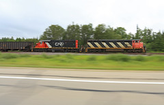 Pacing some Awesome Power (GLC 392) Tags: cn canadian national ge c408m c40cm 2403 barn cowl rain clouds marquette range sub subdivision pace pacing northbound rock mi michigan m35 highway railroad railway train u745 emd sd402 5367 all rail iron ore