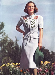 Barbara Stanwyck in summer fashion 1938 (Silverbluestar) Tags: ladies girls white color classic film beautiful beauty hat fashion vintage stars 1930s women pretty embroidery 1938 hollywood actress movies celebrities frock brunette royer womens barbarastanwyck