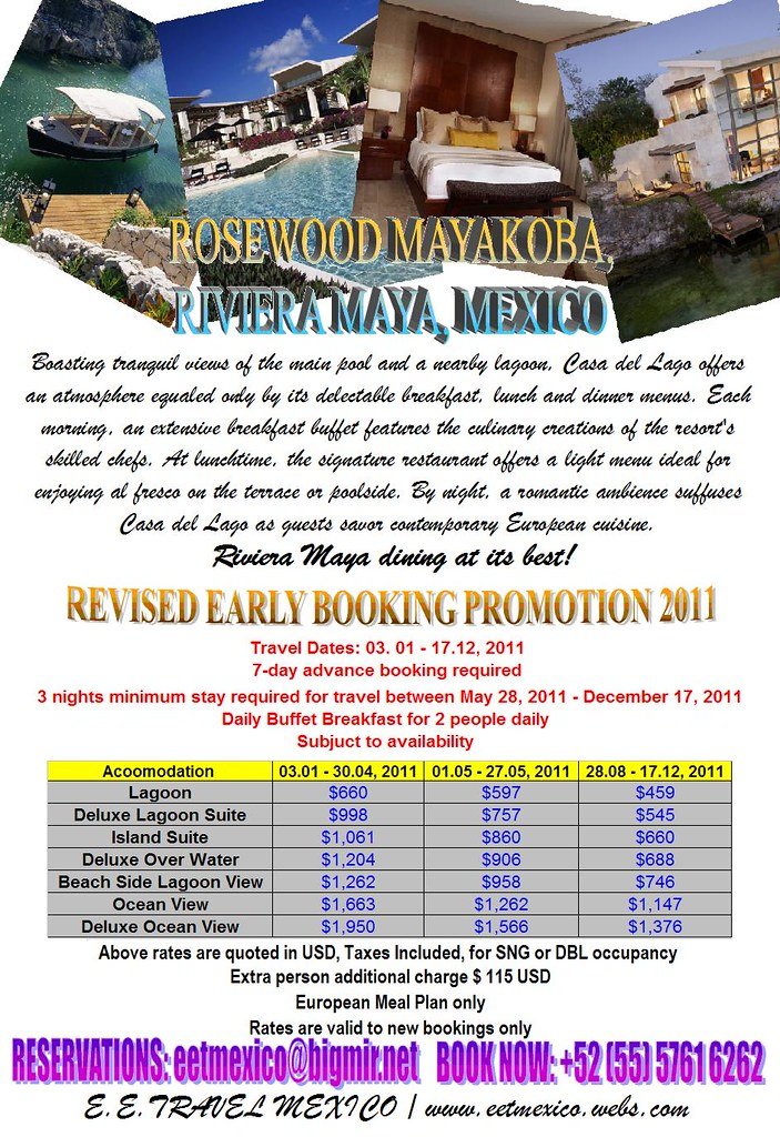 ROSEWOOD MAYAKOBA EARLY BOOKING PROMOTION