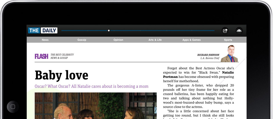 Captura del diario The Daily, vista en un iPad
