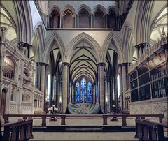 Altar, Salisbury Cathedral (Alistair Haimes) Tags: mamiya 50mm cathedral slide stainedglass altar 200 salisbury wiltshire salisburycathedral rz67 agfachrome rsx2