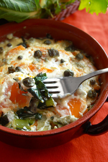 Cocotte di zucca, catalogna e gorgonzola