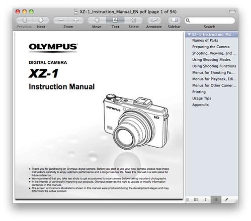 Olympus XZ-1 Manual