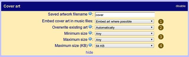 Album artwork settings