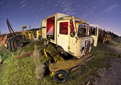 IMG_8547 (night photographer) Tags: old light abandoned night truck painting photography star junk rust long exposure jcb arm trails rusty stack lorry disused scrapyard scrap