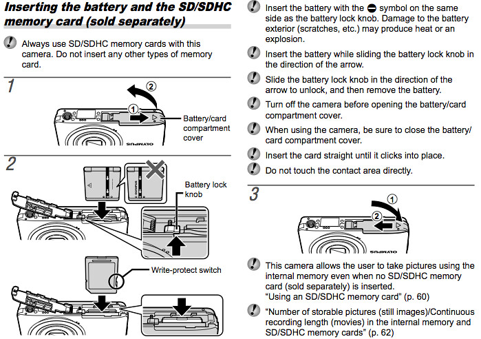 Olympus VG-120 Manual, Page 12: Proper insertion and use of SD and SDHC memory cards
