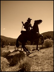 Going west, Santa Fe sculpture (LarrynJill) Tags: sculpture horse mountains newmexico santafe art cowboy picnik horseman vacation2008