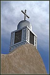 San Ysidro Church Steeple (JoelDeluxe) Tags: newmexico church lensbaby san steeple nm joeldeluxe picnik ysidro