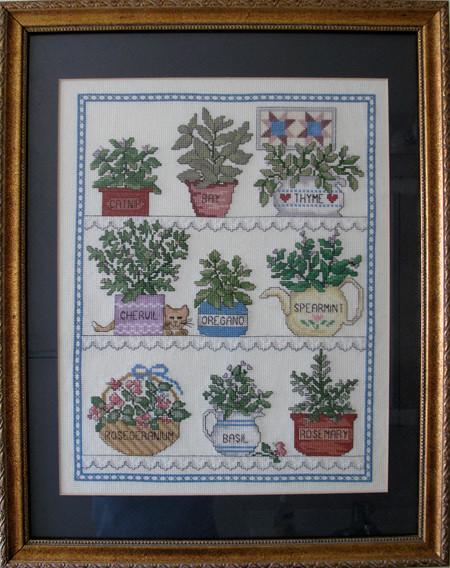 Pots of Herbs Cross Stitch