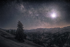 * Rotenfluh - Moon - Milky Way * (dmkdmkdmk) Tags: winter moon snow mountains alps night clouds dark stars landscape switzerland hdr milkyway rotenfluh rotenfluhbergpanoramanachtbaummondmilchstrasse