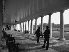 Greenwich, London (Tasmin_Bahia) Tags: park trees england people blackandwhite white black london grass bench outside lights shadows pavement path greenwich peaceful morgan benches pillars pathway