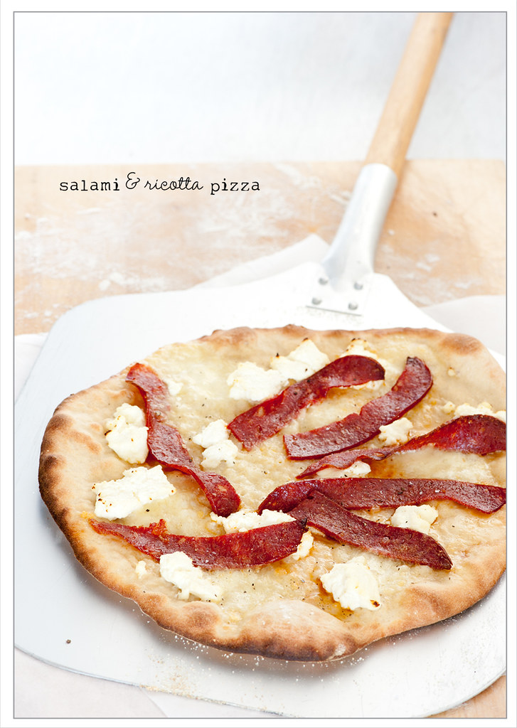 salami & ricotta pizza
