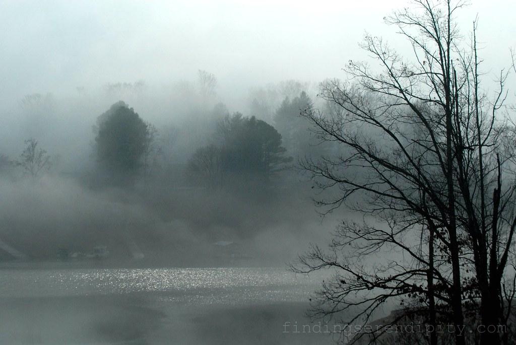 fog over lake after storm