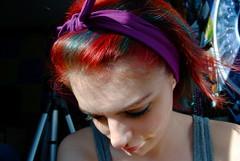 Much Needed Sunshine (jenniferann_) Tags: blue shadow red sun sunlight selfportrait girl face poster bedroom purple tripod 365 headband