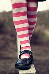 {striped} (tolly p) Tags: pink winter white black outside shoes play legs stripes tights balance striped balancebeam