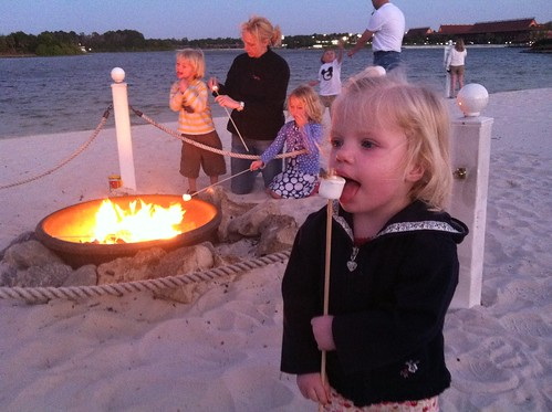 Toasting marshmallows on the beach