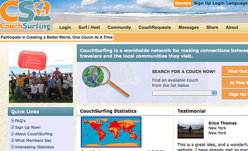 The popular CouchSurfing website