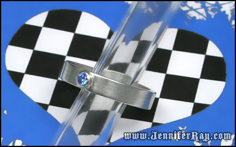 3mm Blue CZ set in a Sterling Silver ring