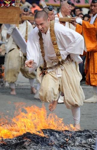 Buddist Monk Fire Walking Ritual