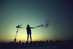 (BricePortolano) Tags: roof moon paris backlight dawn smoke firework toit saxophone contrejour chemine briceportolano