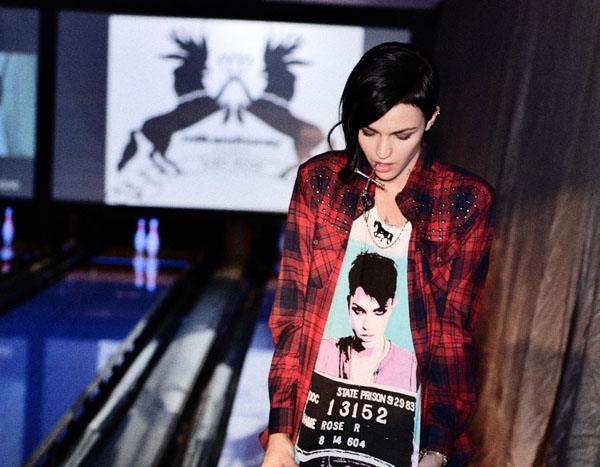 Ruby Rose portrait of the fashion designer, Milk and Honey range launch party.