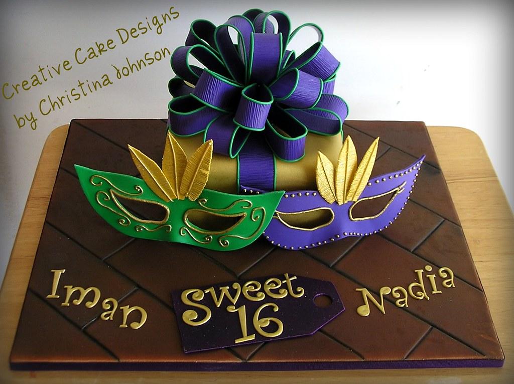 Mardi Gras Sweet 16 Cake