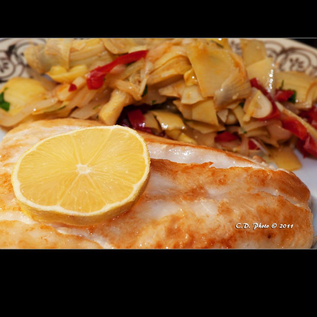 Nile zander fillet with marinated artichoke hearts - recipe