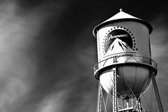 Paramount Studios, Los Angeles (Matthew Joll) Tags: california ca city bw usa white cinema black film america canon movie stars star la losangeles unitedstates watertower cal angels hollywood movies actor paramountstudios 450d rebelxsi