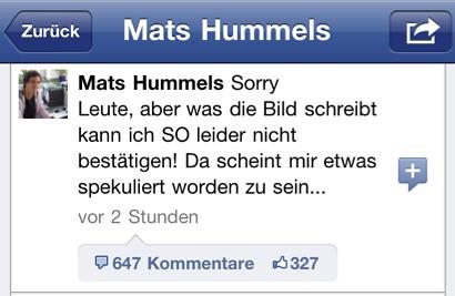 Mats Hummels Kommentar bei Facebook zum BILD-Bericht