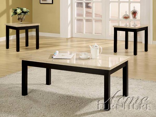 3 Piece Pack Coffee/ End Table Set With Faux Marble Top - $130