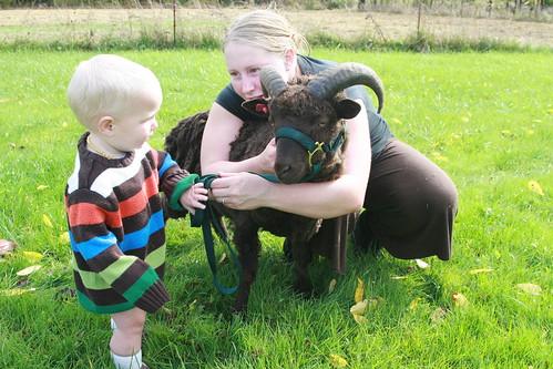 Christine & her son Cyprus with their billy goat gruff.