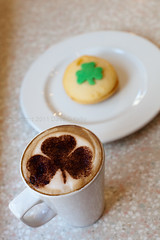 Shamrocks & Shenanigans (Dave G Kelly) Tags: ireland dublin food green cup coffee cake drink beverage cappuccino shamrock bun stpatricksday copyright2011davegkelly gettyimagesirelandq1