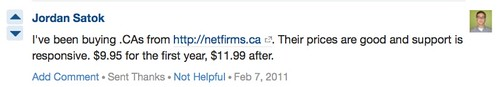 I've been buying .CAs from netfirms.ca