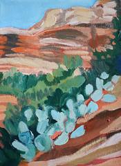 fay canyon, sedona, az 2011 (EllenJo) Tags: cactus art painting artwork acrylic hike highdesert 2011 redrockcountry sedonaart faycanyon ellenjo ellenjoroberts sedonahike availableforsaleatjeromeartistscooperativegallery jeromearizonaart