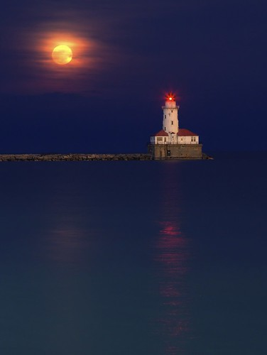 Super Moon Over Chicago Harbor Lighthouse