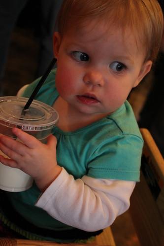 Annie drinking her milk