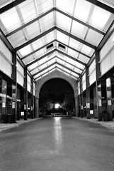 Light at the End of the ...   74 / 365 (Robert_Keller) Tags: road street building lights perspective tunnel converginglines archiyecture