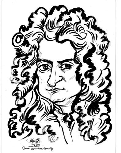 caricatuer of Isaac Newton