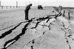Cracked highway near Long Beach, 1933