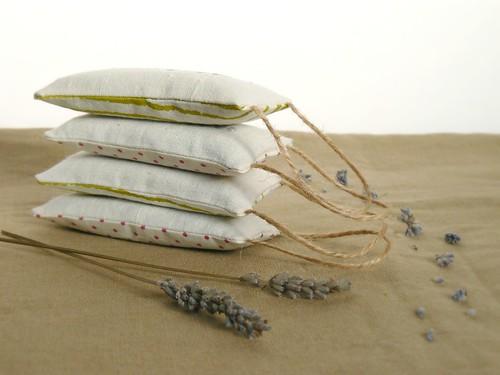 handstamped lavender sachets