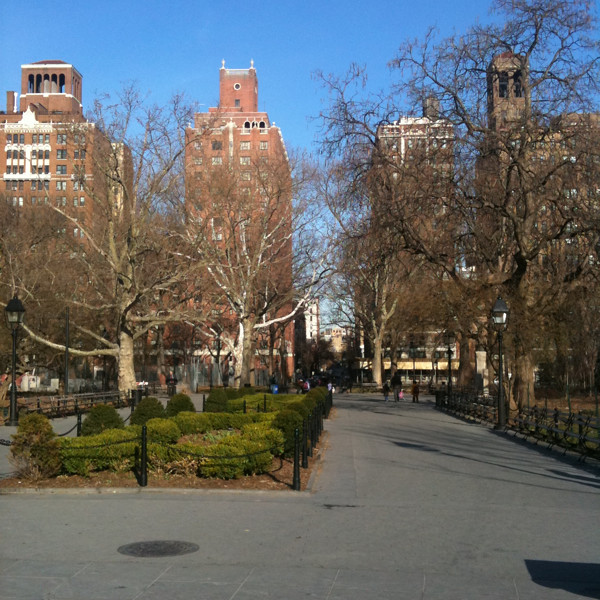 #walkingtoworktoday through Washington Square Park