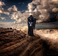 the magician (Eddi van W.) Tags: light sea sun black water rock magic tribal textures merlin tao magician felsen zauberer idream truthandillusion