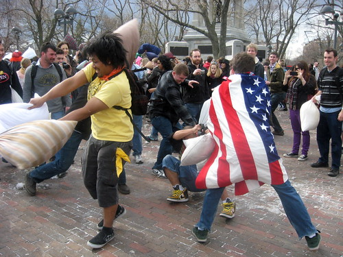 Nothing like a pillow fight to bring neighbors together