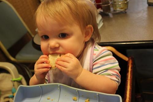 Annie eating pita