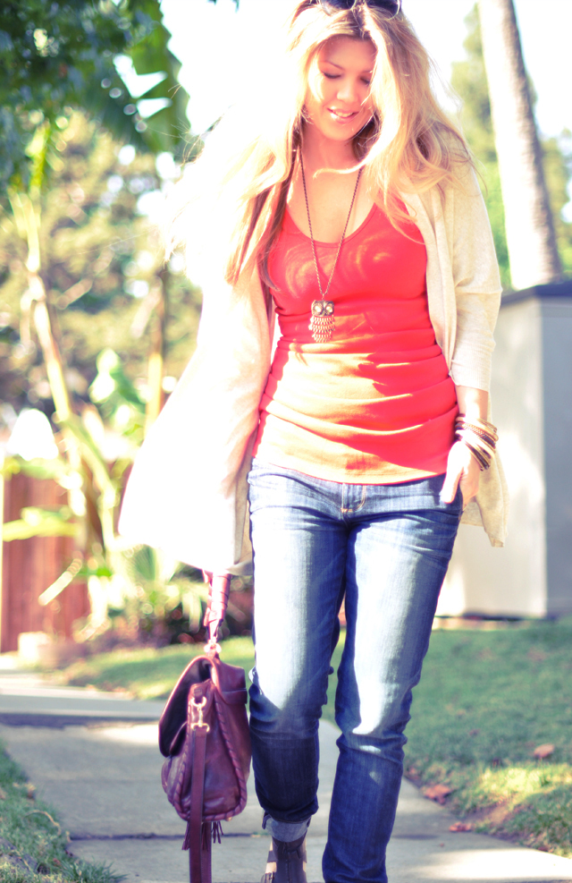 sunny day -casual jeans tank and a cardigan