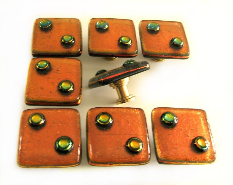 Rust Orange Dots Glass Knobs Hardware